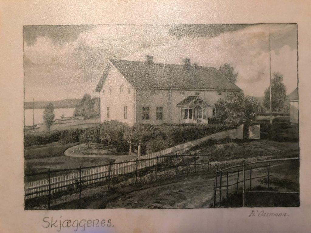 Gammel tegning av Skjeggenes gård